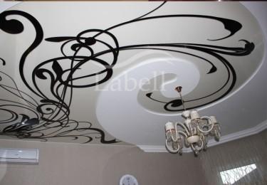 Натяжной двухуровневый потолок с фотопечатью