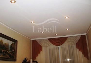 Натяжной одноуровневый потолок в гостиной